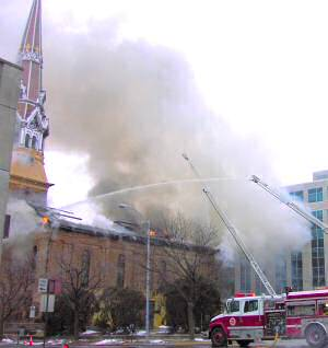 photo of fire at St. Raphael Cathedral in Madison