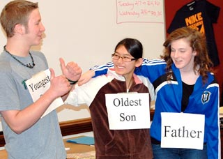 Edgewood High School freshmen in the school's Forgiveness program acted out a New Testament passage on the lost son and how each of the three characters might feel about forgiving, being forgiven, or having their forgiveness of another questioned by a third party. (Photo by Kate Ripple)