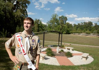 Catholic Eagle Scout Michael Sherburne, 17, has earned many honors from the Boy Scouts of America. Among the awards displayed on his uniform are the Order of the Arrow sash, the Eagle Scout medal and badge, and the