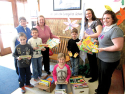 Students at St. John the Evangelist School brought in books, coloring books, and crayons for Hope House in Baraboo. In cooperation with the community, Hope House provides shelter, advocacy, and education to people affected by domestic violence and sexual assault.