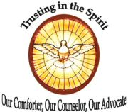 image of a dove in an oval with text: Trusting in the Spirit: Our Comforter, Our Counselor, Our Advocate